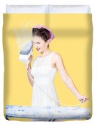 Pin Up Woman Providing Steam Clean Ironing Service Duvet Cover