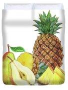 Pineapple Pear Watercolor Food Illustration  Duvet Cover