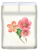 Pink And Orange Flowers On Subtle Cream Marble Duvet Cover