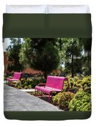 Pink Chairs At Grand Park Duvet Cover