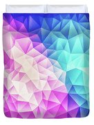 Pink Ice Blue  Abstract Polygon Crystal Cubism Low Poly Triangle Design Duvet Cover