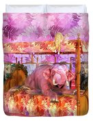 Pink Laughing Elephant Duvet Cover