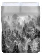 Pinsapos Into The Woods. Bw. Foggy Sunrise Duvet Cover