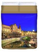 Plaza De Espana At Night Seville Andalusia Spain Duvet Cover