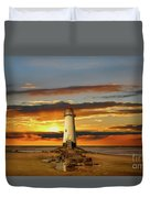 Point Of Ayr Lighthouse Sunset Duvet Cover by Adrian Evans