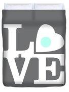 Pop Art Love In Gray Duvet Cover