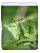 Portrait Of A Great Green Bush-cricket Sitting On A Leaf Duvet Cover