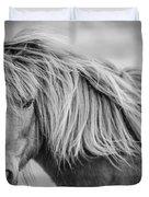 Portrait Of Icelandic Horse In Black And White Duvet Cover by Gigi Ebert