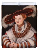 Portrait Of Magdalena Of Saxony, Wife Of Elector Koachim II Duvet Cover