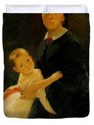 Portrait Of Shestova With Daughter Duvet Cover