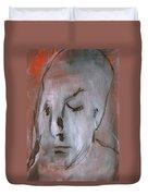 Portrait On Red Duvet Cover