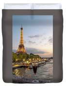 Portrait View Of The Eiffel Tower At Night With Wine Glass In The Foreground Duvet Cover