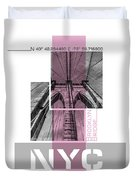 Poster Art Nyc Brooklyn Bridge Details - Pink Duvet Cover