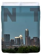 Poster Of Downtown Austin Skyline Over The Green Trees Duvet Cover