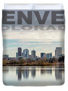 Poster Of Downtown Denver At Dusk Reflected On Water Duvet Cover