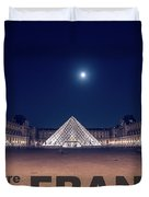 Poster Of  The Louvre Museum At Night With Moon Above The Pyrami Duvet Cover