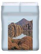 Prescott Arizona Watson Lake Hill Rcoks Water Sky Clouds 3 122019 4865 Duvet Cover