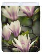 Pretty White And Pink Magnolia Duvet Cover