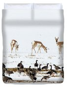 Pronghorn Antelope And Geese Duvet Cover