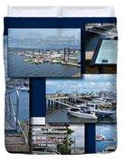 Provincetown Marina Cape Cod Massachusetts Collage Duvet Cover