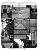 Provincetown Town Hall Cape Cod Massachusetts Collage Bw Vertical Duvet Cover