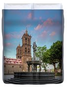 Puebla Zocalo And Cathedral Duvet Cover