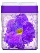 Purple Morning Glory With Pattern Duvet Cover