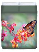 Queen Butterfly On Mexican Bird Of Paradise  Duvet Cover