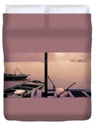 Rain Storm Ha Long Bay Boat People Homes Duvet Cover