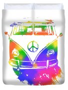 Rainbow Colored Peace Bus Duvet Cover by David King