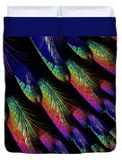 Rainbow Colored Peacock Tail Feathers Fractal Abstract Duvet Cover by Rose Santuci-Sofranko