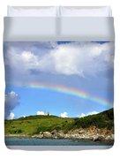 Rainbow Over Buck Island Lighthouse Duvet Cover