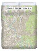 Reading Pennsylvania Us City Street Map Duvet Cover