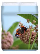 Red Admiral Butterfly On Milkweed Duvet Cover