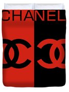 Red And Black Chanel Duvet Cover
