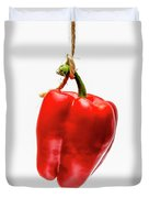 Red Bell Pepper On A White Background Duvet Cover