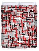 Red Black White Geometric Duvet Cover