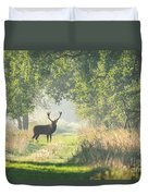 Red Deer In The Forest Duvet Cover