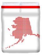 Red Dot Map Of Alaska Duvet Cover