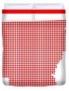 Red Dot Map Of Arkansas Duvet Cover