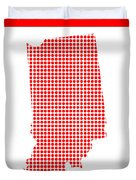 Red Dot Map Of Indiana Duvet Cover