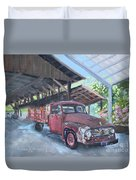 Red Ford And Pink Flowers Duvet Cover