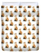 Red Fox Watercolor Pattern Duvet Cover