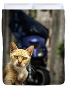 Red Cat With Green Eyes Duvet Cover