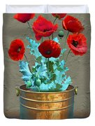 Red Patio Poppies Duvet Cover