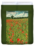 Red Poppies Meadow Duvet Cover