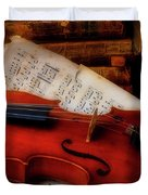 Red Rose And Violin With Sheet Music Duvet Cover
