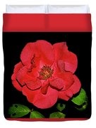 Red Rose With Dewdrops 038 Duvet Cover