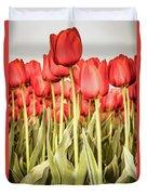 Red Tulip Field In Portrait Format. Duvet Cover