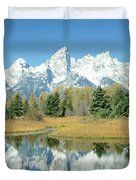 Reflection Of Mountains In Water, Grand Duvet Cover